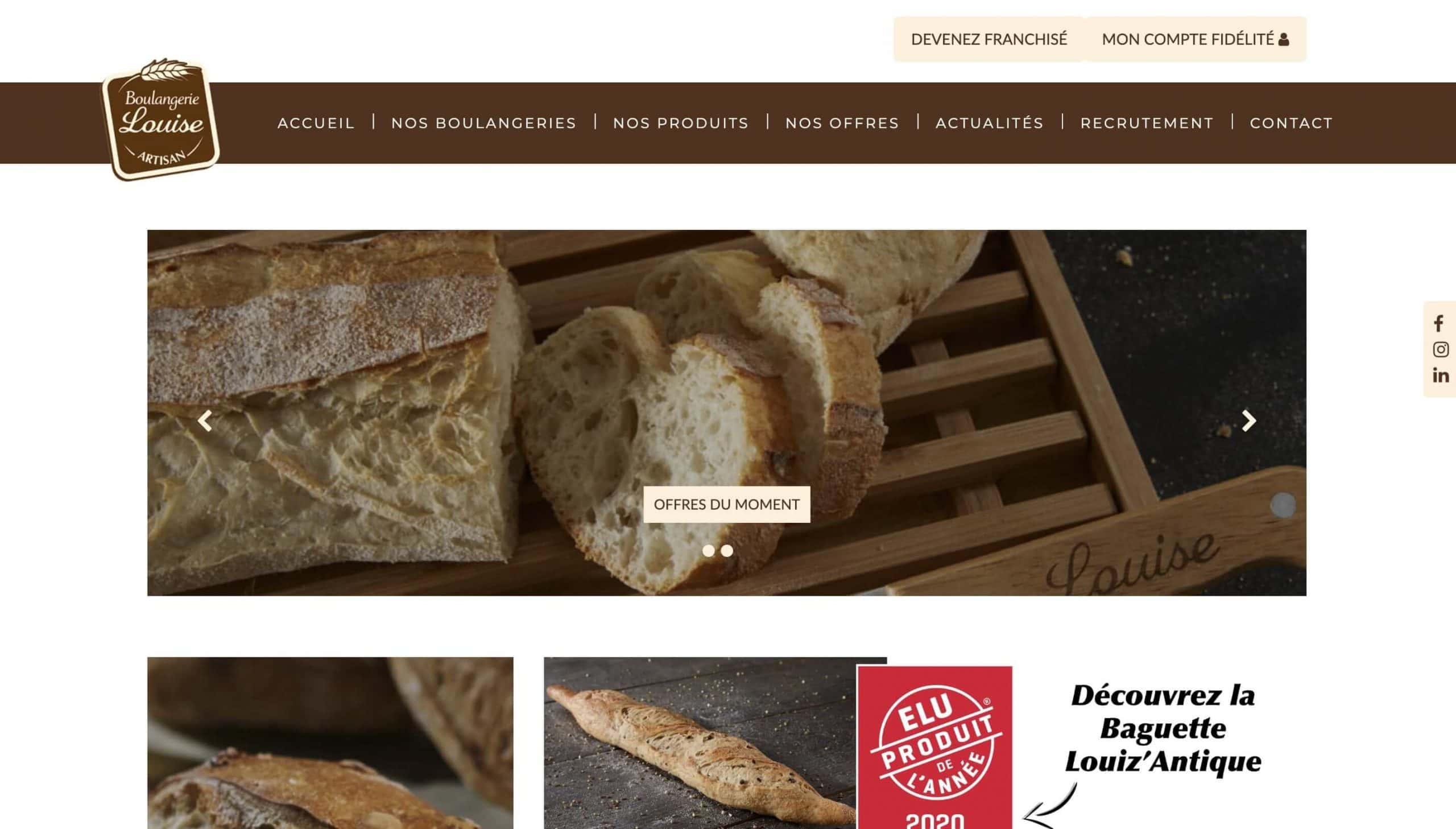 Home page de la boulangerie Louise