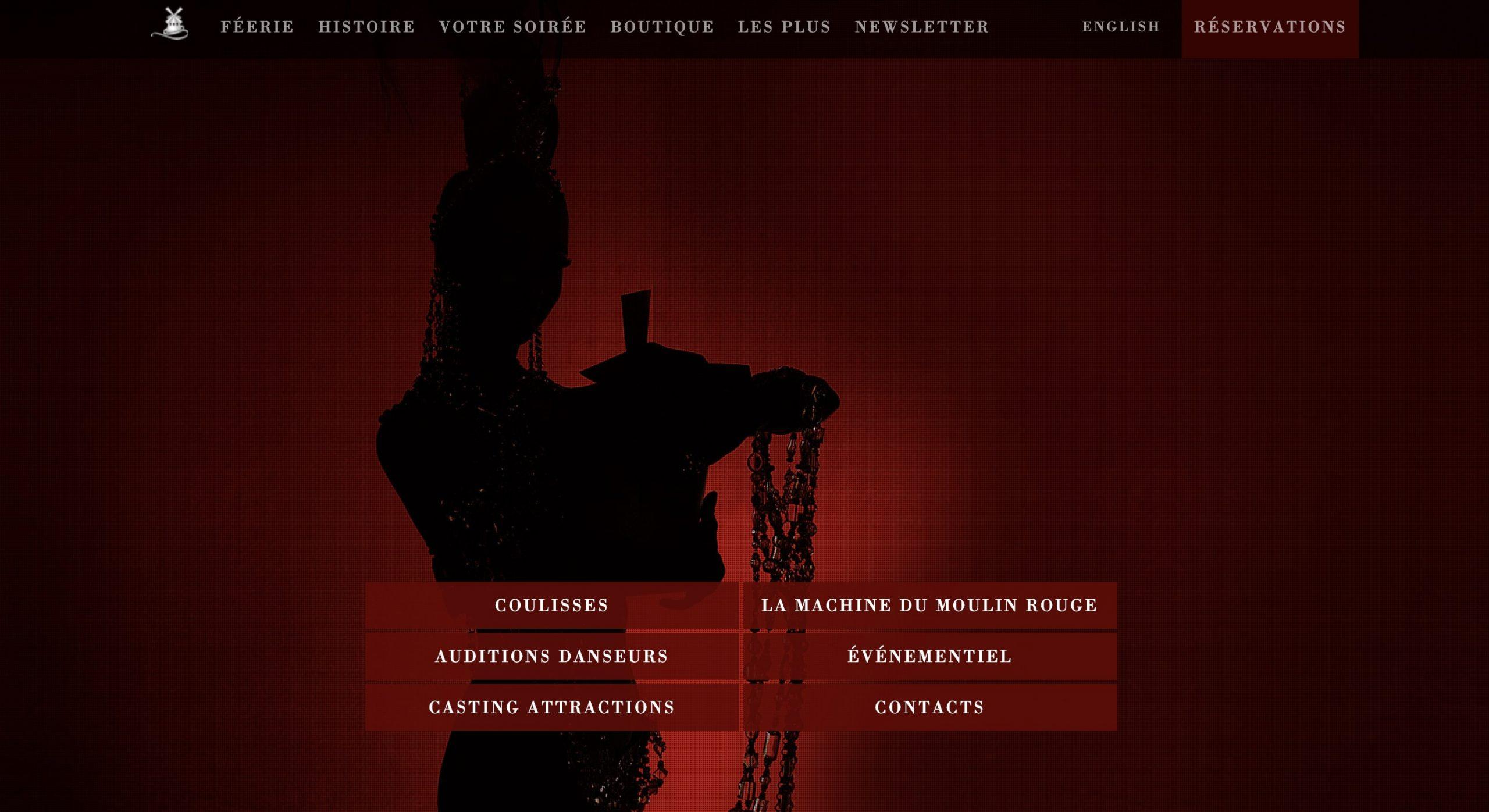 La signification des couleurs : le rouge : capture d'écran de landing page du Moulin Rouge