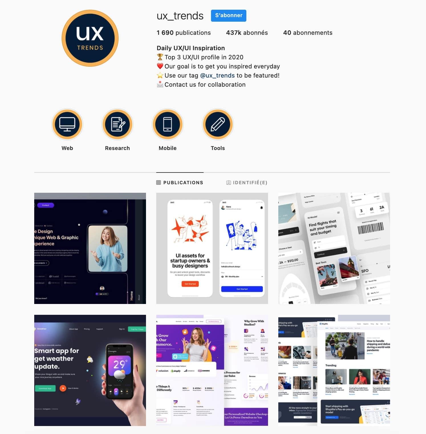 Exemple de compte inspiration UX/UI : UX trends : repost de différentes maquettes UX