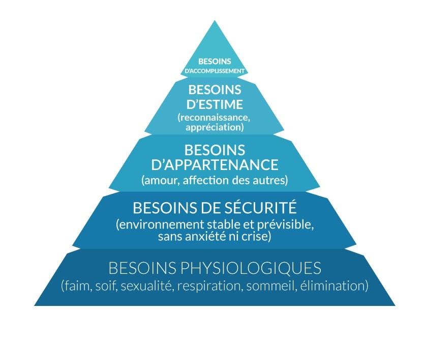 Les cinq bonnes raisons qui vous feront adopter le Motion design : susciter l'émotion : image de la pyramide des besoins de Maslow
