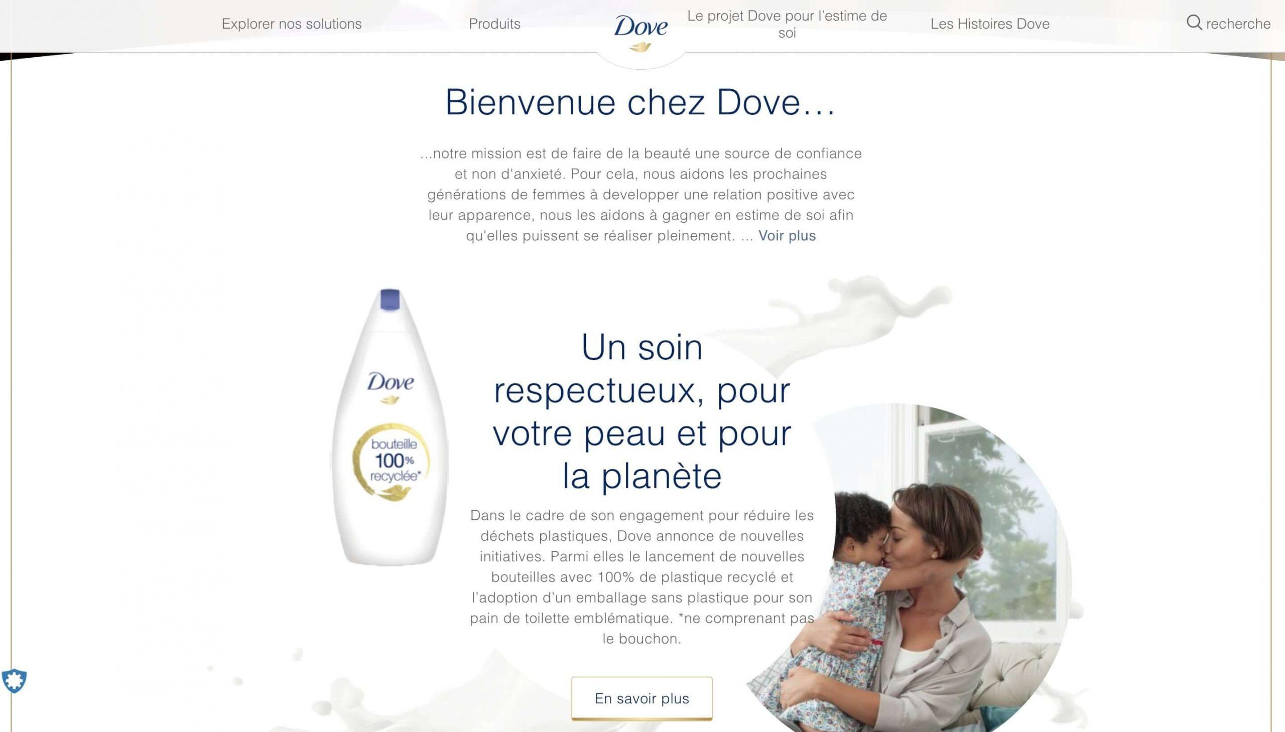 Exemple de la signification des couleurs : utilisation de la couleur blanche dans tous les contenus Dove. Marque ambassadrice de la douceur et de l'hygiène corporelle.