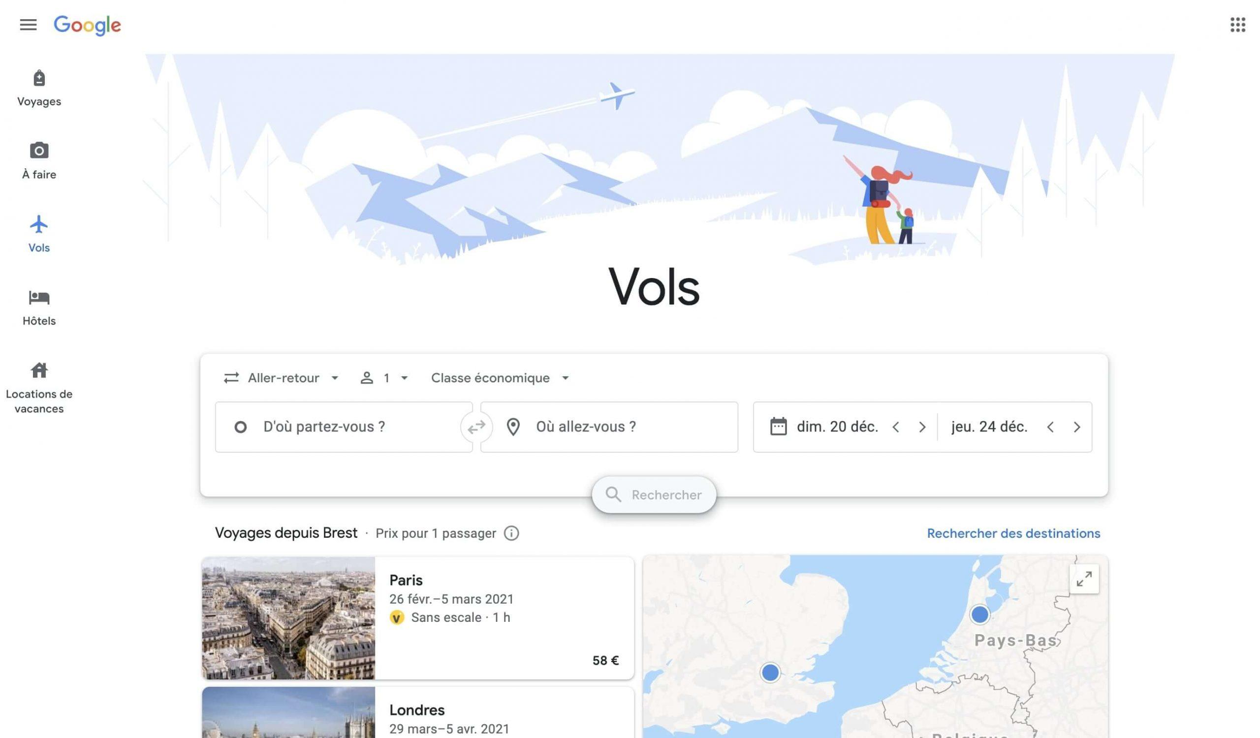 Exemple de l'utilisation de la couleur bleu dans une identité visuelle sur un site internet. Ici, on retrouve la connotation du voyage avec Google Flight.