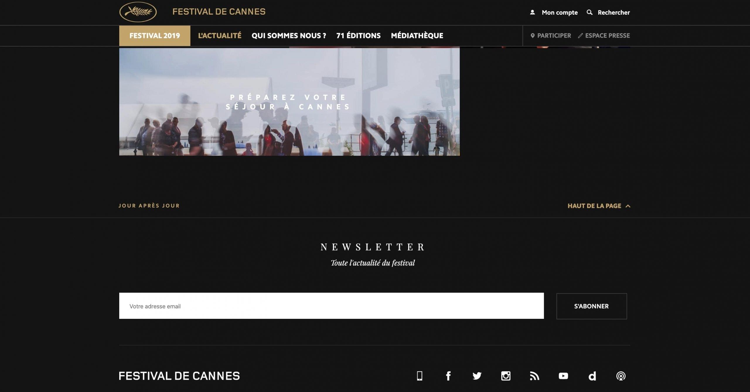 Exemple de la signification des couleurs : utilisation de la couleur or sur le site internet du Festival de Cannes. Il permet de souligné des éléments importants du site et de garder cet aspect prestigieux du Festival.