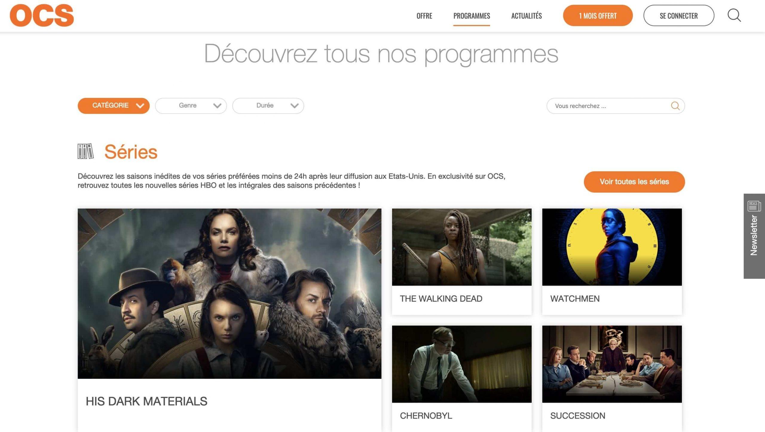 Exemple de la signification des couleurs : utilisation de la couleur orange. Couleur majoritaire de l'identité de marque d'OCS, service de divertissement en streaming.