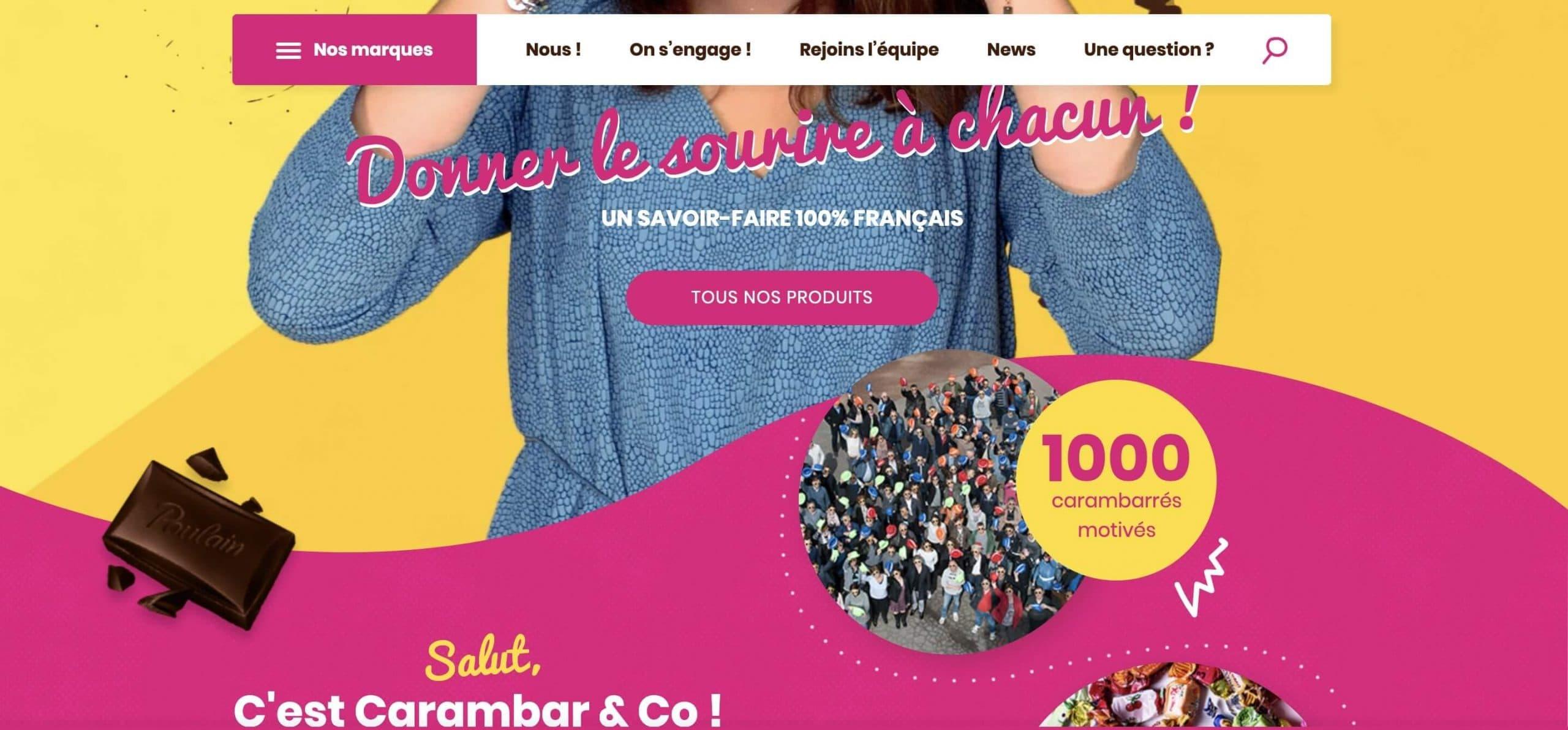 Exemple de la signification des couleurs : utilisation de la couleur rose sur le site internet de Carambar.