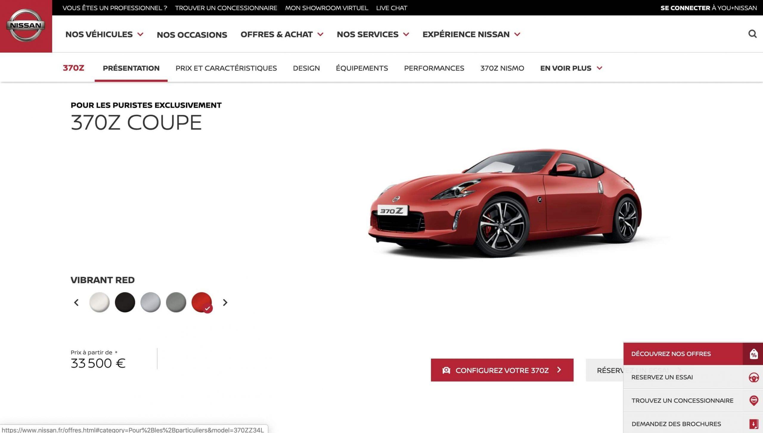 Exemple de la signification des couleurs : utilisation de la couleur rouge. Ici, on retrouve différents éléments graphiques soulignés en rouge, qui suivent l'identité visuelle de la marque tout au long du site. Ayant pour objectif de captiver l'utilisateur.