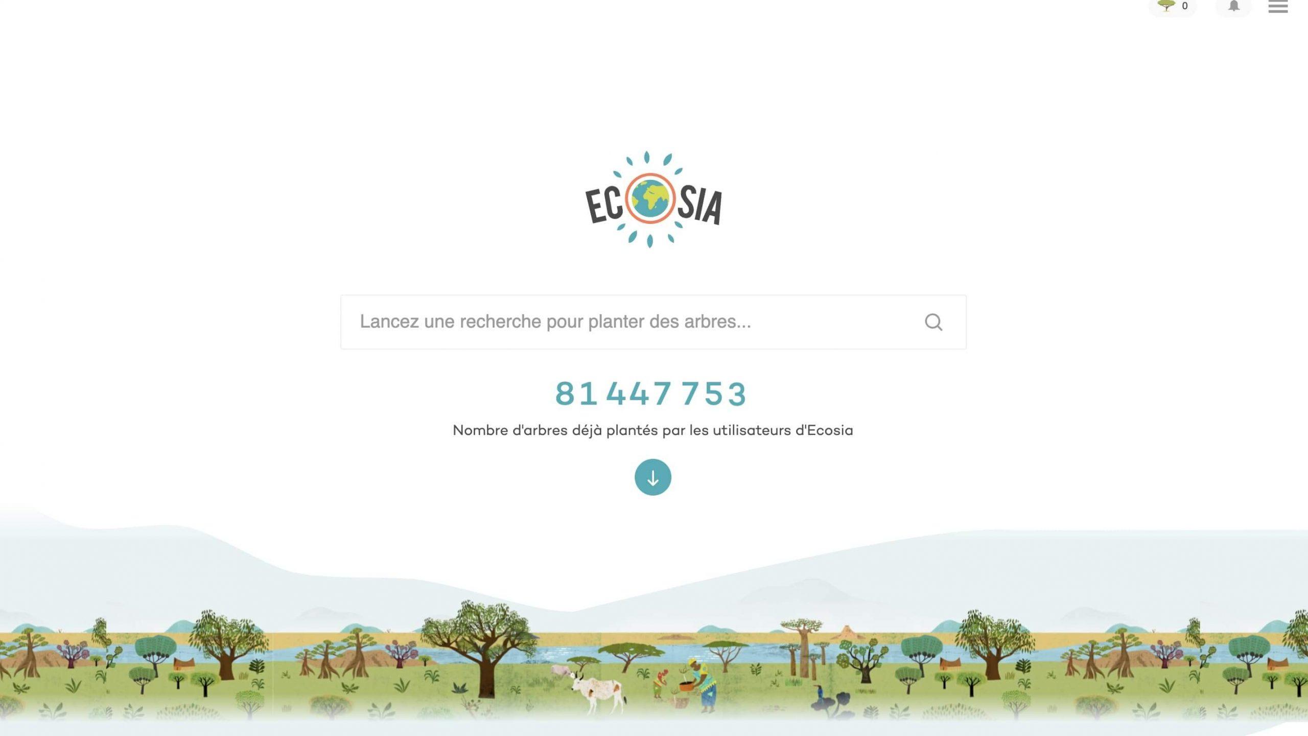 Exemple de la signification des couleurs : utilisation de la couleur verte, utilisée pour le moteur de recherche Ecosia, qui souligne sa cause environnementale.