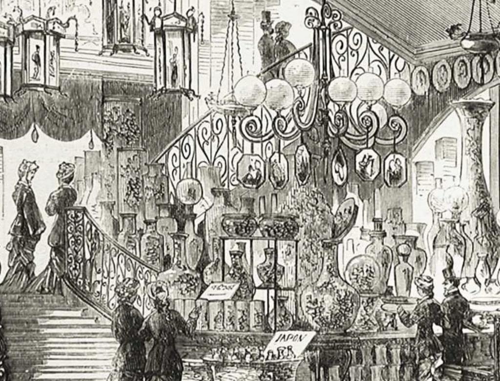 UX design : Image archive du Bon Marché de 1880, rayon des faïences japonaises, de Paris par la BNF