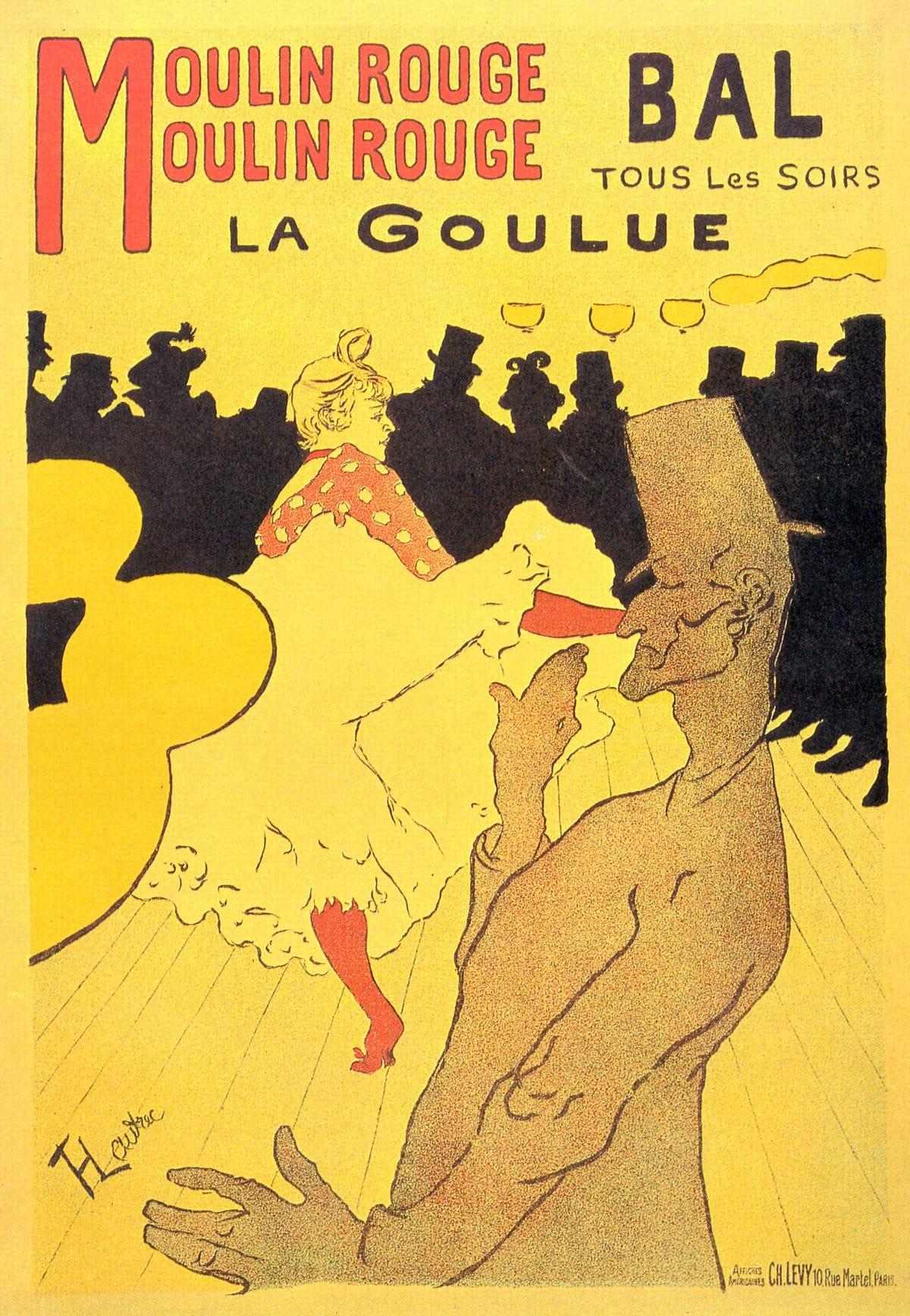 Design graphique : exemple de style graphique d'époque : Affiche du Moulin Rouge de 1880