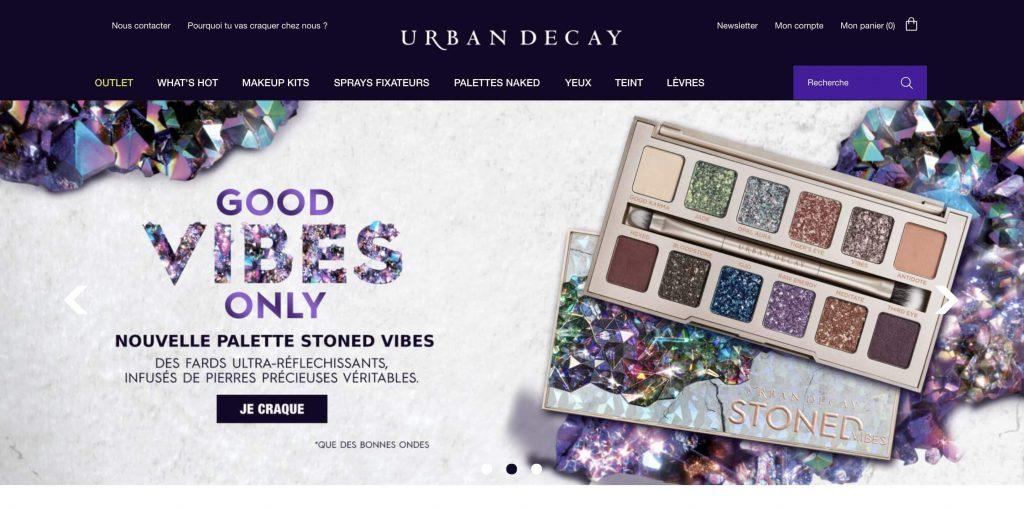 Home Page de la marque de cosmétique Urban Decay