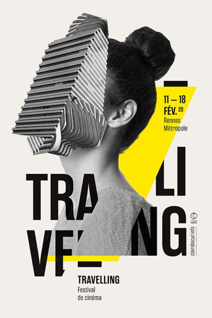 Design graphique : exemple de style graphique contemporain : Affiche du festival Travelling de 2020