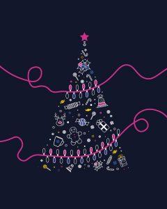 Design Graphique - style graphique - Sapin de Noël minimaliste en flat design.